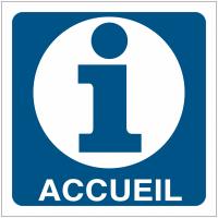 """Pictogrammes de signalisation """"Point information"""" avec texte Accueil"""
