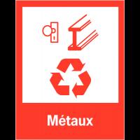 """Panneaux de signalisation """"Tri sélectif des déchets"""" pour Métaux"""