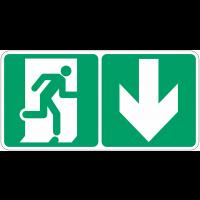 """Marquage photoluminescent d'évacuation """"Homme qui court, flèche en bas"""""""