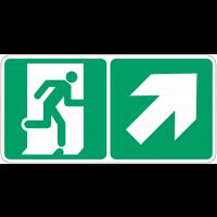 """Marquage photoluminescent d'évacuation """"Homme qui monte, flèche à droite"""""""