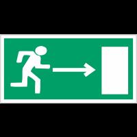 """Mini autocollants d'évacuation """"Homme qui court, flèche à droite"""""""
