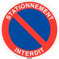 Panneau de circulation en PVC - Stationnement interdit avec texte