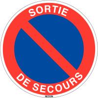 """Panneau de circulation en PVC """"Stationnement interdit - Sortie de secours"""""""