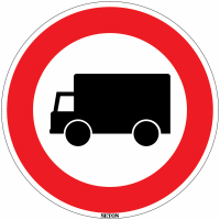 """Panneau de circulation en PVC """" Accès interdit aux poids lourds"""""""