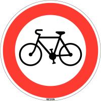 """Panneau de circulation en PVC """"Accès interdit aux cycles"""""""""""