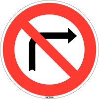 """Panneau de circulation en PVC """"Interdiction de tourner à droite à la prochaine intersection"""""""""""
