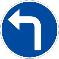 """Panneau de circulation en PVC """"Direction obligatoire à la prochaine intersection : à gauche"""""""