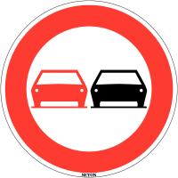 """Panneau de circulation en PVC """"Interdiction de dépasser"""""""""""