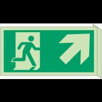 """Panneau d'évacuation photoluminescent en drapeau """"Homme qui monte, flèche à droite"""""""