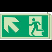 """Panneau d'évacuation photoluminescent en drapeau """"Homme qui monte, flèche à gauche"""""""