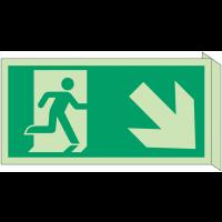 """Panneau d'évacuation photoluminescent en drapeau """"Homme qui descend, flèche à droite"""""""