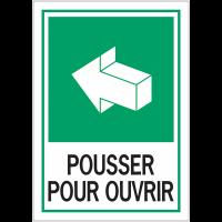 Panneau d'évacuation A4 - Pousser pour ouvrir
