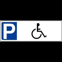 """Panneau de parking en PVC """"Parking handicapés"""" avec poteau de fixation"""
