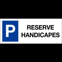 """Panneau sur support double """"Places de parking - Réservé handicapés"""""""