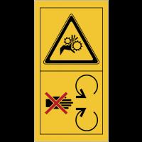 """Signalisation de sécurité pour engins agricoles """"Risque d'écrasement, rouleaux crantés"""""""