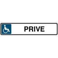 """Panneau de parking avec poteau """"Handicapés - Privé"""""""