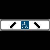 """Panneau de parking avec poteau """"Parking handicapés, flèches diagonales en bas à gauche et en bas à droite"""""""