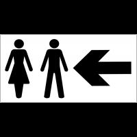 Panneau d'information Toilettes homme et femme - Flèche directionnelle