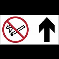 Panneau d'information Interdiction de fumer - Flèche directionnelle