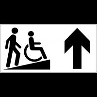Panneau d'information Rampe d'accessibilité handicapés - Flèche directionnelle