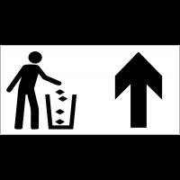 Panneau d'information Jeter les déchets à la poubelle - Flèche directionnelle