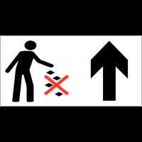 Panneau d'information Ne pas jeter les déchets au sol - Flèche directionnelle