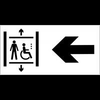 Panneau d'information Ascenseur accessible aux fauteuils roulants - Flèche directionnelle