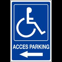 """Panneau mural """"Handicapés - Flèche à gauche - Accès parking"""""""