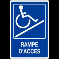 """Panneau mural """"Rampe d'accessibilité handicapés"""" avec texte Rampe d'accès"""