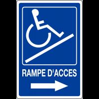 """Panneau mural """"Rampe d'accessibilité handicapés - Flèche à droite"""" avec texte Rampe d'accès"""