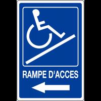 """Panneau mural """"Rampe d'accessibilité handicapés - Flèche à gauche"""" avec texte Rampe d'accès"""