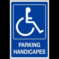 """Panneau mural """"Handicapés"""" avec texte Parking handicapés"""