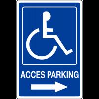 """Panneau mural """"Handicapés - Flèche à droite - Accès parking"""""""