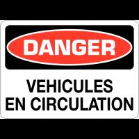 """Signalisation d'avertissement """"Danger - Véhicules en circulation"""""""