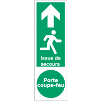 """Panneau PVC adhésif """"Issue de secours Porte coupe-feu - Homme qui court, flèche en haut"""""""