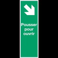 """Panneau PVC adhésif """"Flèche diagonale en bas à droite - Pousser pour ouvrir"""""""