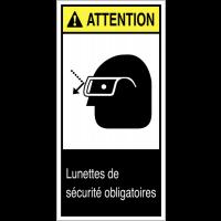 """Etiquettes ANSI Z535 """"Attention - Lunettes de protection obligatoires"""""""