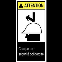 """Etiquettes ANSI Z535 """"Attention - Casque de protection obligatoire"""""""