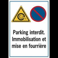 Panneau routier de dissuasion - Parking interdit Immobilisation et mise en fourrière
