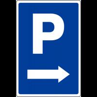"""Panneau de parking temporaire """"Parking flèche à droite"""""""
