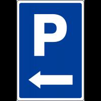 """Panneau de parking temporaire """"Parking flèche à gauche """""""
