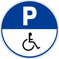 """Panneau de parking rond """"Parking handicapés"""""""