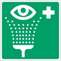 """Panneau d'évacuation en aluminium """"Equipement de rinçage des yeux"""""""