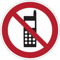 """Panneau d'interdiction en aluminium """"Interdiction d'activer des téléphones mobiles"""""""
