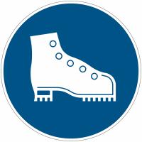 """Panneau d'obligation en aluminium """"Chaussures de sécurité obligatoires"""""""