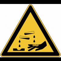 """Panneau de danger en aluminium """"Substances corrosives"""""""