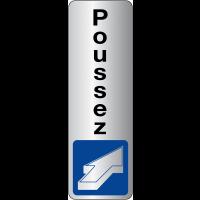 """Signalétique adhésive en vinyle argenté """"Pousser pour ouvrir"""" avec texte Poussez"""