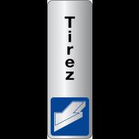 """Signalétique adhésive en vinyle argenté """"Tirer pour ouvrir"""" avec texte Tirez"""