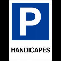 """Etiquette pour balise """"Places de parking - Handicapés"""""""