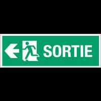 """Panneau d'évacuation suspendu grand format """"Homme qui court, flèche à gauche - Sortie"""""""